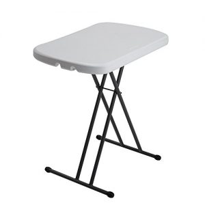 Lifetime 80251 Height Adjustable Folding Personal Table, 26 Inch, White Granite