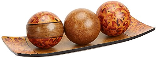 Hosley's Brown Decorative Tray and Orb/ball Set- 15″ Long, Burlwood Style Finish. Ideal GIFT for weddings, party, spa, reiki, meditation.