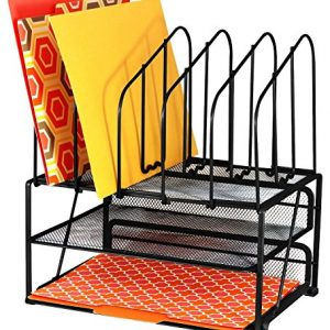 DecoBros Mesh Desk Organizer with Double Tray and 5 Upright Sections