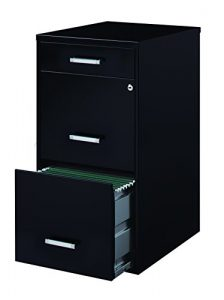 Space Solutions 3-Drawer File Cabinet, 18-Inch Deep, Black