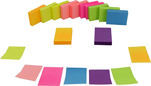 4A Sticky Notes, 1-1/2″ x 2″, Neon Assorted Collection, 100 sheets/pad, 12 pads/pack (4A 301×12-N)