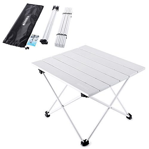 Yahill Aluminum Folding Collapsible Camping Table Roll up 3 size with Carrying Bag for Indoor and Outdoor Picnic, BBQ, Beach, Hiking, Travel, Fishing(Silver- S)