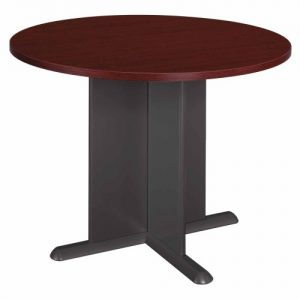 Bush Business Furniture Series C 42 Inch Round Conference Table, Mahogany and Graphite Gray