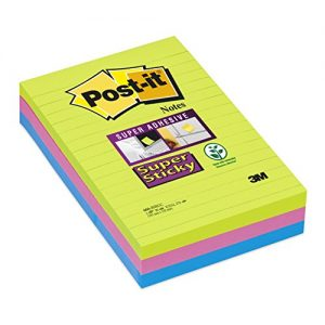 Post-it Super Sticky Notes, 4 in x 6 in, Rio de Janeiro Collection, Lined, 3 Pads/Pack, 90 Sheets/Pad (660-3SSUC)