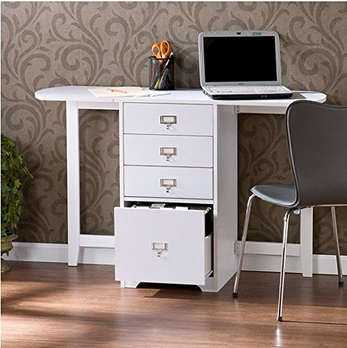 Upton Home London White Wood Fold-out Organizer and Craft Computer Desk